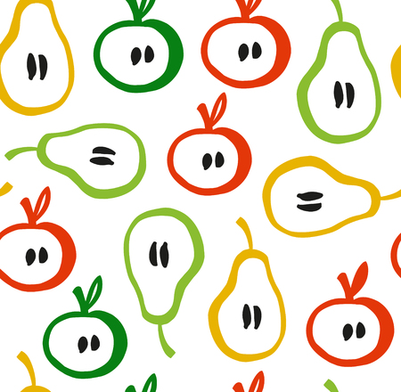 Decorative seamless pattern in scandinavian style. Colorful backdrop with apples and pears Illustration