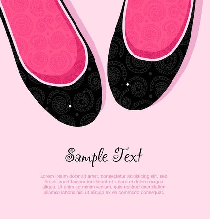 trendy girl: Fashion vector illustration of pink and black elegant woman shoes