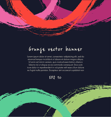 Grunge paint banner. Artistic colorful background with drawn circles