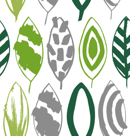 Seamless decorative green pattern with ink drawn leaves. Vector texture in grunge style 2