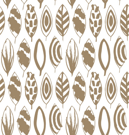 Seamless decorative pattern with ink drawn leaves. Beige texture in grunge style