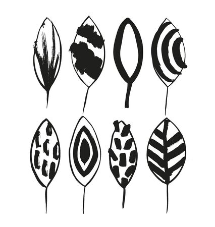 Vector decorative set with ink drawn leaves in scandinavian style. Grunge drawn collection of stylish leaves isolated on white