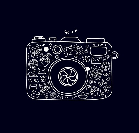 Vector doodle illustration of detailed isolated image of camera with many cute details