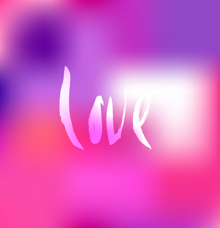 Love. Ink hand drawn lettering. Modern vector calligraphy on pink abstract background