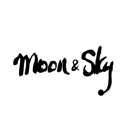 Moon and sky. Ink hand drawn lettering. Modern vector calligraphy on white background