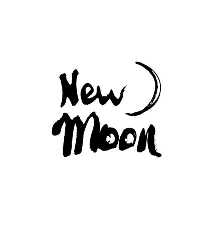 Luna nueva. Dibujado a mano de tinta letras. Moderno vector de la caligrafía en el fondo blanco Ilustración de vector