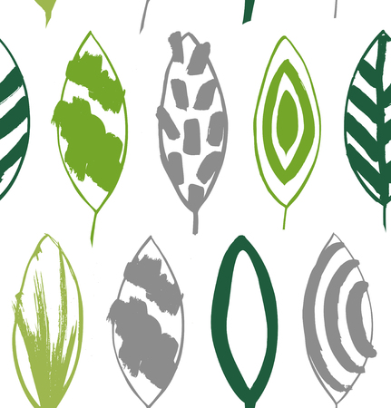 Seamless decorative green pattern with ink drawn leaves. Vector texture in grunge style Illustration