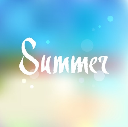 Summer. Ink hand drawn lettering. Modern vector calligraphy on abstract background Vector Illustration
