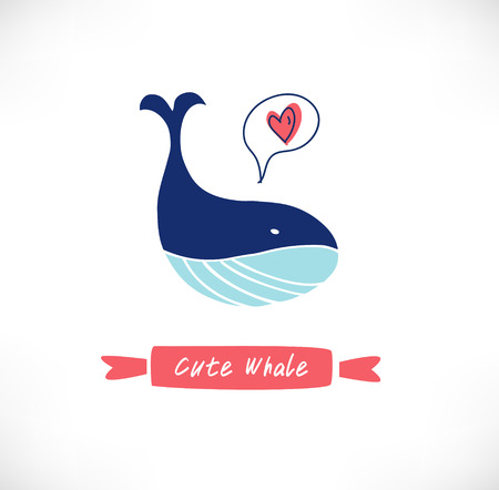 silueta niño: Bandera vector lindo con aisladas ballena divertida
