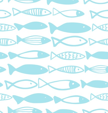 Decorative bright pattern with fish. Seamless marine background Illustration
