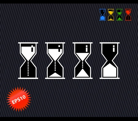Vector black and white isolated hourglass set