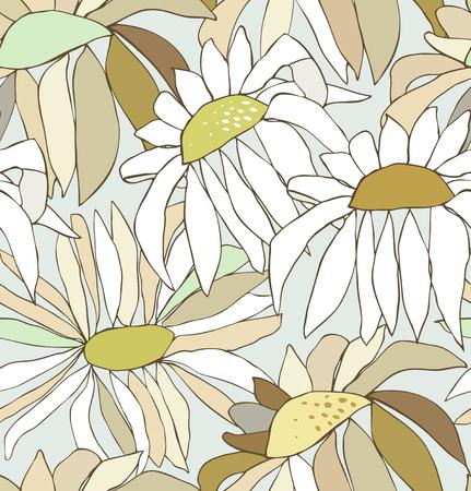 paper craft: Patrón sin fisuras con flores dibujadas otoño. Fondo con las manzanillas. Naturaleza interminable textura