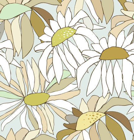 chamomiles: Seamless pattern with drawn autumn flowers. Background with chamomiles. Nature endless texture Illustration