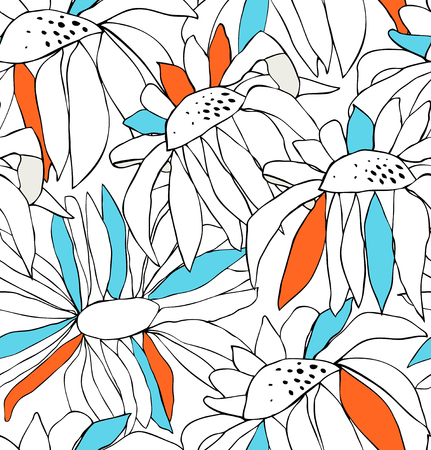 Seamless pattern with drawn flowers. Vector background with chamomiles. Nature endless texture