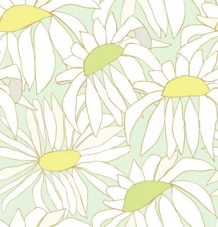 chamomiles: Seamless pattern with white drawn flowers. Background with chamomiles. Nature endless texture