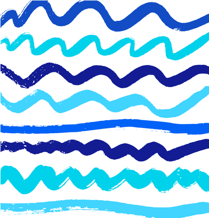 Abstract blue paint pattern with ink lines. Vector background with brushes strokes Illustration
