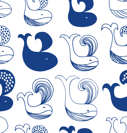 Cute seamless pattern with different whales silhouettes. Vector decorotive background