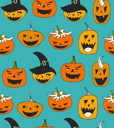 vector seamless pattern with Halloween symbols. Decorative background with funny pumpkins