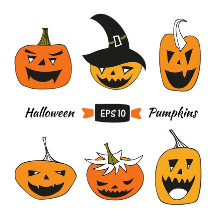 caras graciosas: Halloween vector set with angry pumpkins. Decorative collection with isolated drawing pumpkins