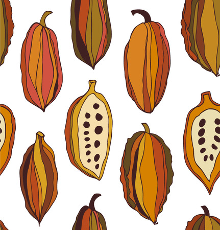 Vector set with drawn isolated cocao beans. Beauty collection with decorative silhouettes of chocolate cocoa beans Illustration