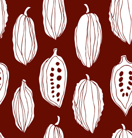 Seamless beauty pattern with cocoa beans. Decorative vector monochrom chocolate background Illustration
