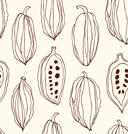 Seamless pattern with cocoa beans. Decorative vector contour chocolate background Vectores