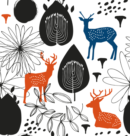 Seamless nature pattern with deers. Forest silhouette background. Vector texture Illustration
