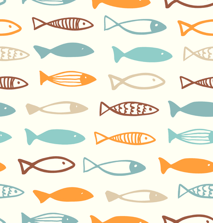 Decorative cute drawing pattern with funny fish. Seamless marine background. Vector fabric texture