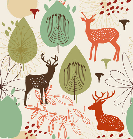 Seamless nature pattern with deers. Forest background. Vector texture Vector Illustration