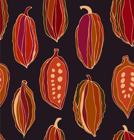 negras africanas: patrón de contraste sin fisuras con los granos de cacao. vector de fondo decorativo colorido del chocolate