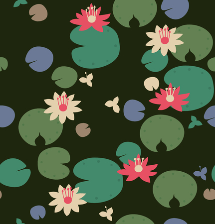 water lilies: Seamless natural pattern with water lilies, lotus. Vector decorative background