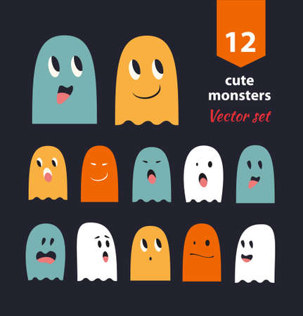 Vector set with cute ghosts. Collection of funny spooks with different emotions Illustration