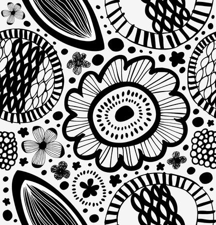 北欧風のファンタジーのグラフィック パターン。定型化された花と抽象的な背景