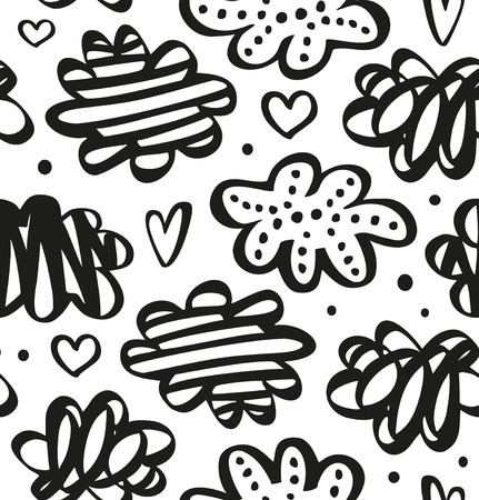 Natural drawn pattern with clouds. Decorative pattern in scandinavian style. Vector abstract texture Illustration