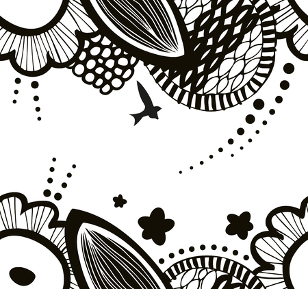 abstract seamless: Vector black and white seamless decorative floral pattern. Abstract graphic background. Summer texture Illustration