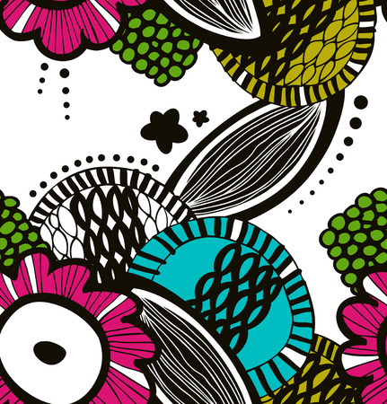 Vector colorful seamless decorative floral pattern. Abstract drawn background. Summer texture