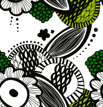 Vector contrast seamless decorative floral pattern. Abstract drawn background. Summer texture