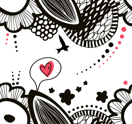Vector contrast seamless decorative floral pattern. Abstract graphic background. Drawn expressive texture