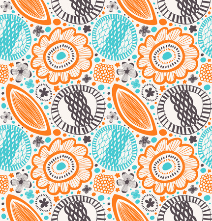 Vector decorative pattern in vintage style. Abstract background with stylized flowers