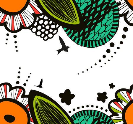 Vector funny seamless decorative natural pattern. Abstract graphic background. Summer texture