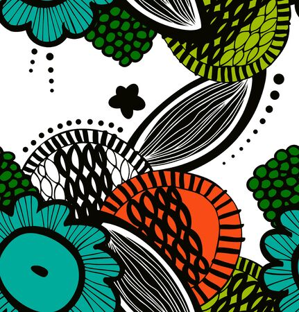 ector seamless decorative floral pattern. Abstract drawn background. Summer texture Illustration