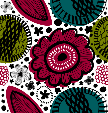 Colorful decorative pattern in scandinavian style. Abstract background with stylized flowers