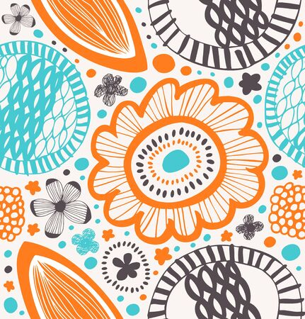 Fantasy decorative pattern in scandinavian style. Abstract background with stylized flowers Illustration