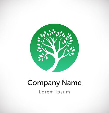 Logo vector with green tree silhouette. Isolated icon, sign, logotype eco concept