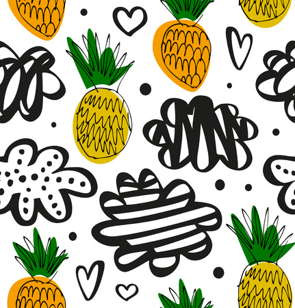 Natural drawn pattern with pineapples. Floral decorative pattern in scandinavian style. Vector summer texture