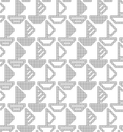 Scheme for knitting. Seamless geometric pattern with decorative boats, ships Illustration