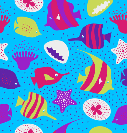 reefs: Seamless colorful background with cute fishes, jellyfishes. Marine texture, pattern with sea creatures, coral reefs