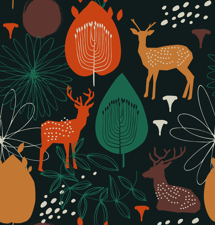 Seamless nature pattern with deers. Forest silhouette background. Vector decorative texture
