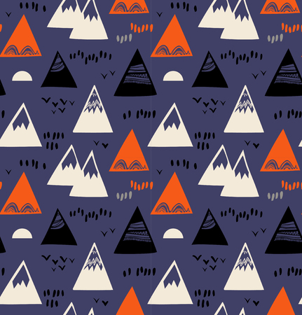 Seamless pattern with mountains, rocks in scandinavian style. Decorative background with landscape elements. Abstract texture