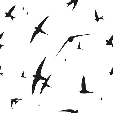 Vector pattern: Nuốt, nhanh chóng, chim. mẫu vector đồ họa. nền liền mạch trang trí Hình minh hoạ